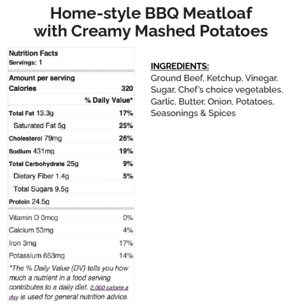 home style bbq meatloaf creamy mashed potatoes label